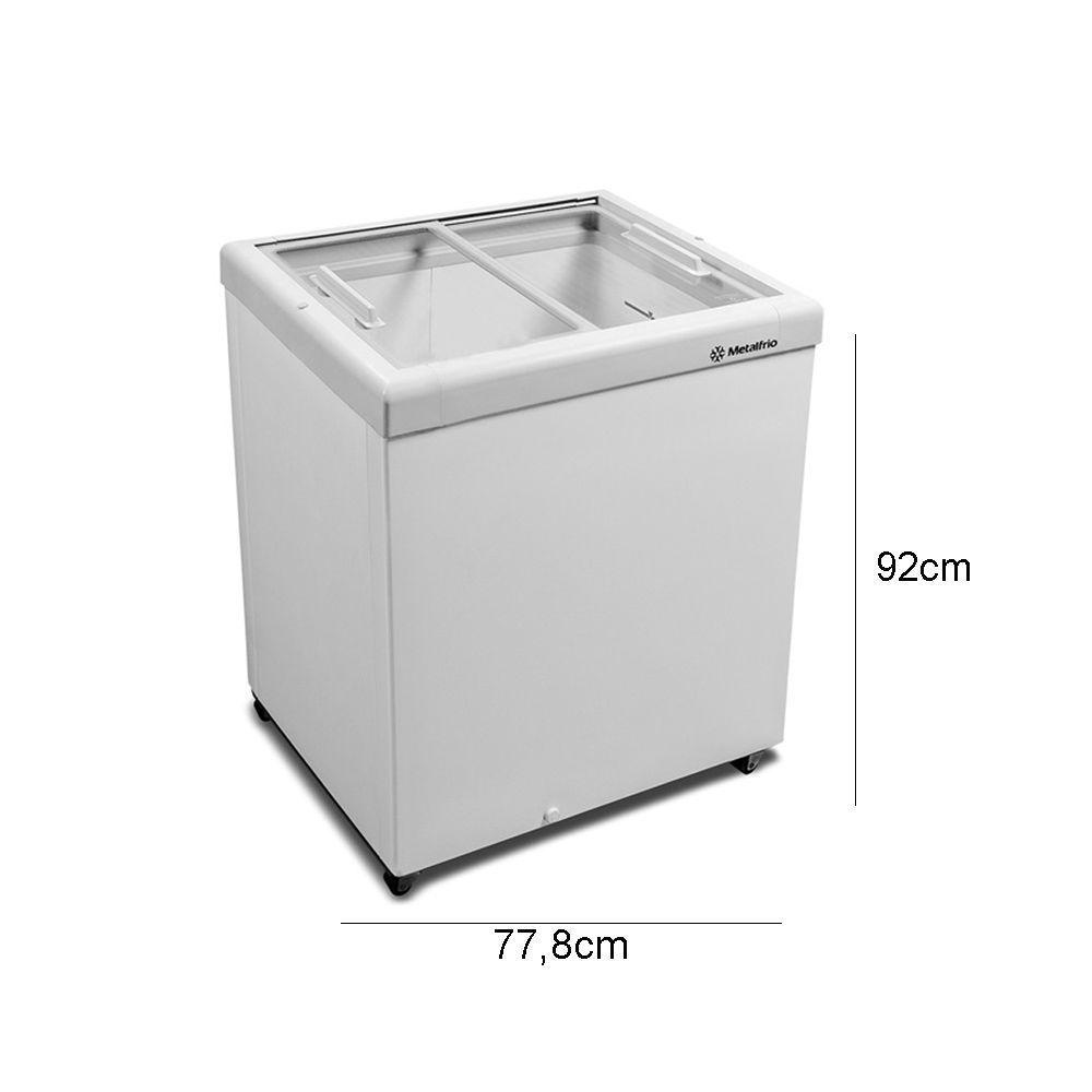 freezer horizontal metalfrio 189 litros tampa de vidro 220v. Black Bedroom Furniture Sets. Home Design Ideas
